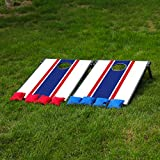 Sports Festival CornHole Board Bean Bag Toss Game Set and Tic Tac Toe 2 Games In 1 … (Blue and Red)