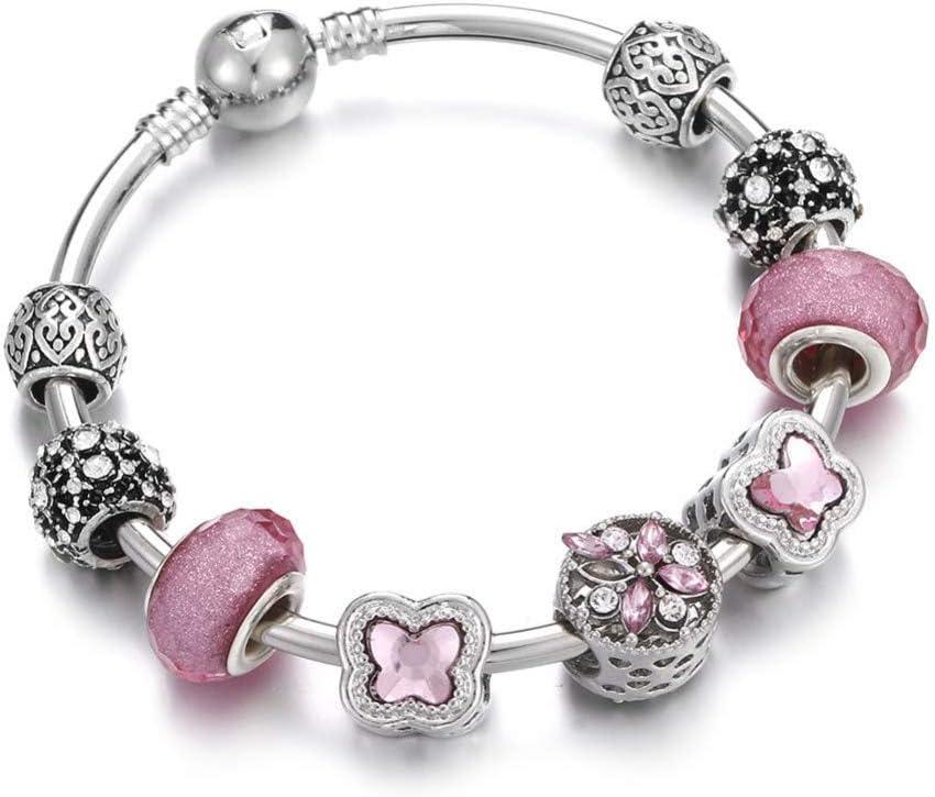 YCWDCS PulseraCadena Popular Pulsera y Brazalete con dijes de corazón de Plata para Mujeres con Cuentas Murano Crown Heart Flower Fashion Love Pink DIY Jewelry