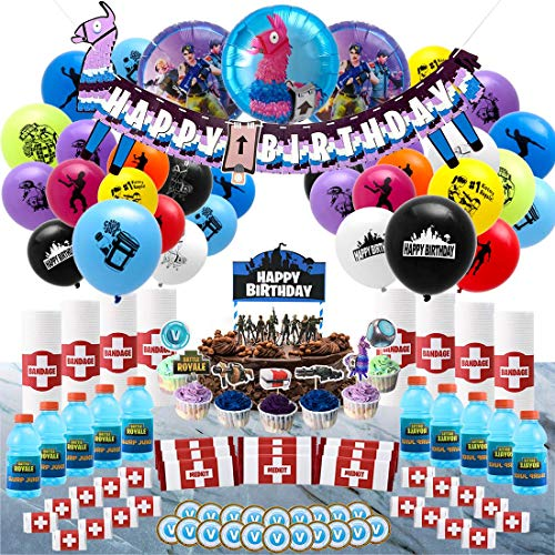 Birthday Party Supplies for Game Lovers,Game Theme Party Decorations for Boys,133 pcs Party Favors-Llama Banner,Cake Toppers,Balloons,Bottle Labels,Medkit Labels,Chocolate Coin V Buck -