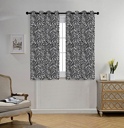 Stylish Window Curtains,Zebra Print Decor,Animal Print Zebra Pattern Fashionable Trendy Decorating Illustration Decorative,Black White,2 Panel Set Window Drapes,for Living Room Bedroom Kitchen Cafe ()