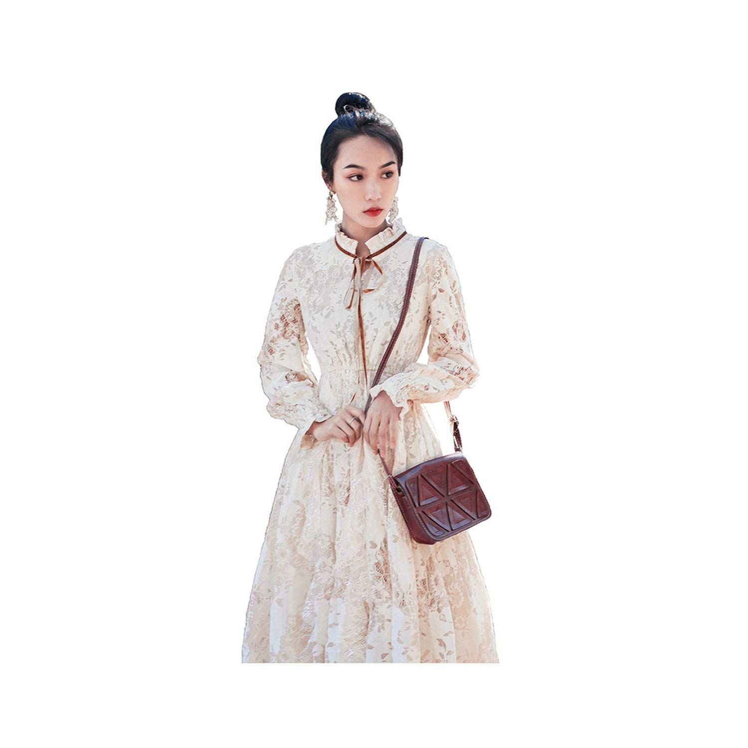 Vintage French Beige Lace Dress Spring Autumn Style Long Sleeve Slim Flared Sleeve Long Dress,Apricot,M