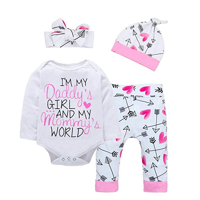 251ea5092 Baby Girl Clothes Cute Letter Romper + Arrow Heart Pants + Headband + Hat  Happy Father's