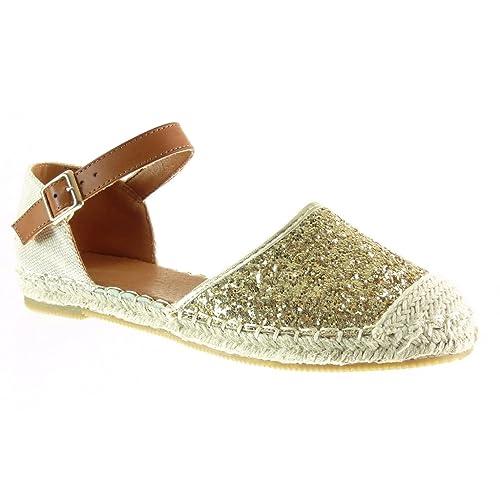 Angkorly - Zapatillas Moda Alpargatas Sandalias Mary Jane Abierto Mujer Brillante Strass Cuerda tacón Plano 1 CM - Oro W869 T 38: Amazon.es: Zapatos y ...