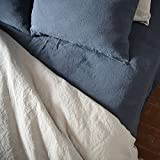 LinenMe Stone Washed Bed Linen Fitted Sheet, 54 by 75 by 14-Inch, Blue