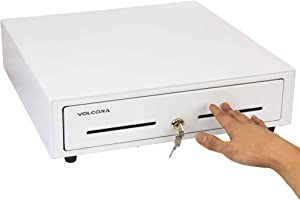 """16"""" Manual Push Open Cash Register Drawer for Point of Sale (POS) System, White Heavy Duty Till with 5 Bills/8 Coin Slots, Key Lock with Fully Removable Money Tray and Double Media Slots"""