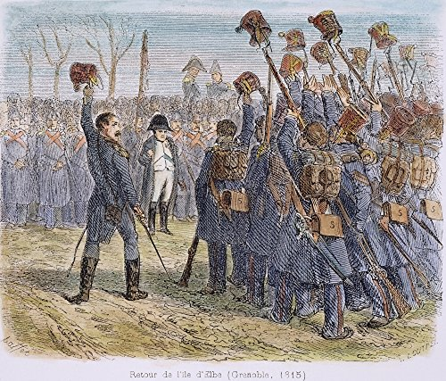Napoleon I Being Saluted Nnapoleon I Escaped From Elba Saluted By Soldiers Sent To Arrest Him At Grenoble France March 1815 Wood Engraving French 1839 Poster Print by (18 x 24)