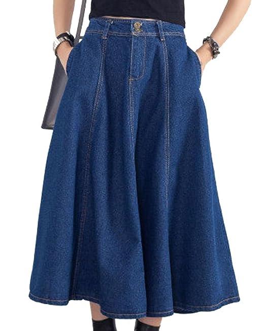 697c521067 Women's Plus Size Long Skirts Pure Color Pockets Flared Midi Skirt Dark  Blue S