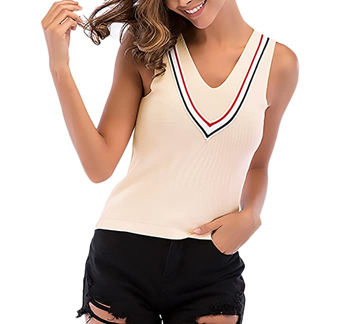HaiDean Top Mujer Verano Tejer Chalecos Sin Mangas V Cuello Backless Modernas Casual Slim Fit Joven