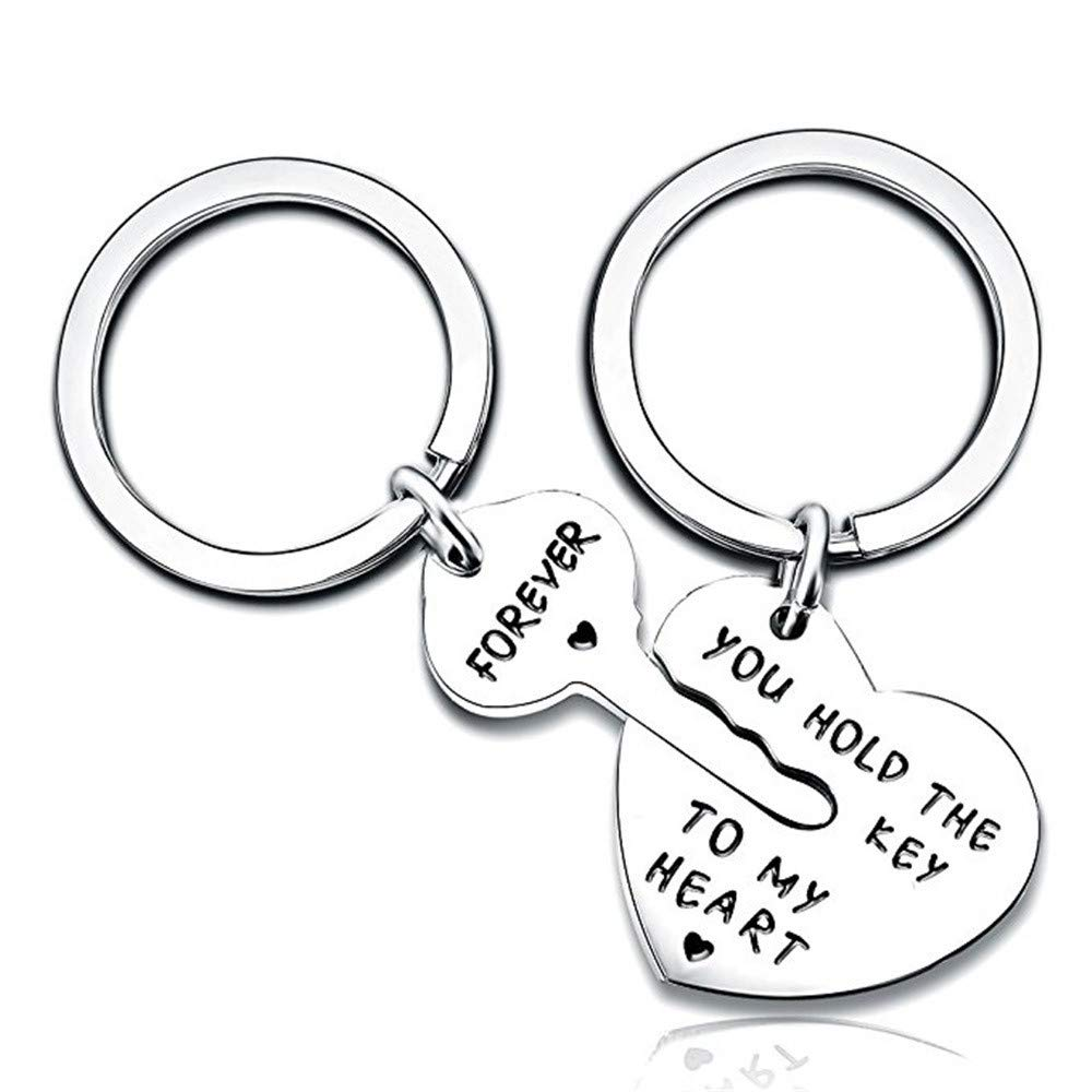Lovers Key Chain Set, Iuhan Romantic Couple Keychain Keyring Keyfob Valentine's Day Lover Gift Heart Key Set (A)
