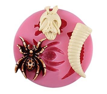 1 pcs araña + calavera + cuerno Chocolate molde silicona Fondant Moldes para jabón Candy Chocolate