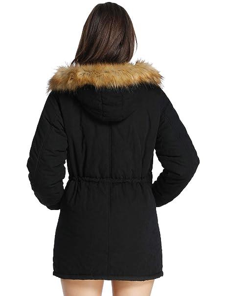 b864db77be1 iLoveSIA Abrigos de invierno con forro de piel sintética de Chaquetas  Parkas para Mujeres negro 42(Pecho 94-98cm)  Amazon.es  Ropa y accesorios