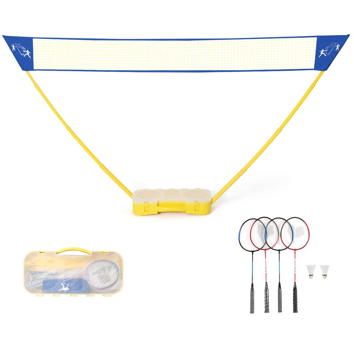 GOPLUS Portable Badminton Set Outdoor Folding Adjustable Tennis Badminton Volleyball Net 10Ft w/Stand, Carry Box (4 Player)