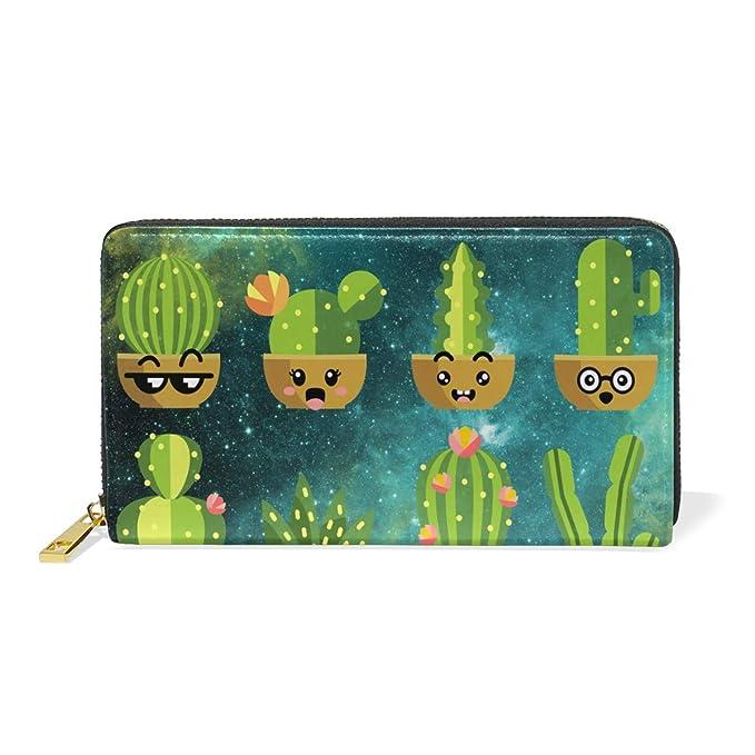 Amazon.com: Galaxy Cacti Cactus - Monedero de piel con ...