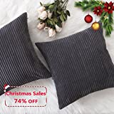 Decorative Pillow Cover - Home Brilliant Fall Decor Pillow Covers Soft Decorative Striped Corduroy Velvet Square Throw Pillow Sofa Cushion Covers Set for Couch, 2 Pack, 18x18 inch (45cm), Dark Grey