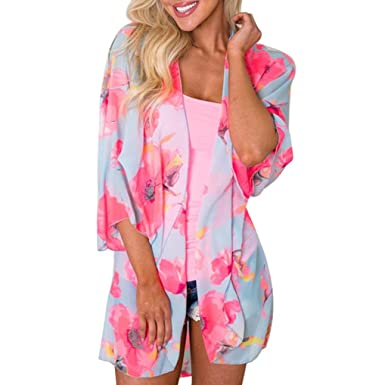 aa702a1d14c Sixcup Womens Floral 3 4 Sleeve Sheer Chiffon Summer Wrap Kimono Cardigans  Casual Coverup Coat Tops Outwear Beach Blouse Pink  Amazon.co.uk  Clothing