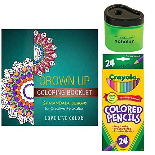 Adult Coloring Book Starter Gift Pack: Includes Crayola Colored Pencils, Love Live Color Mandala Grown Up Coloring Book and Prismacolor Scholar Sharpener (Bundle of 3) (24 Colored Pencils)