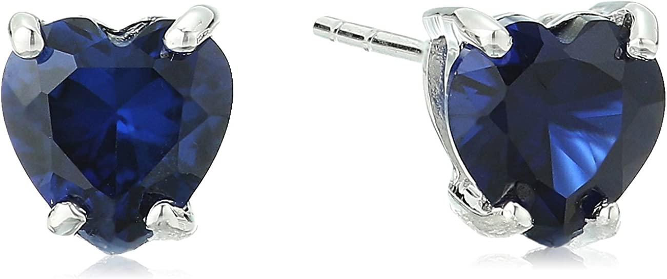 10k White Gold Heart Shape Gemstone Stud Earrings