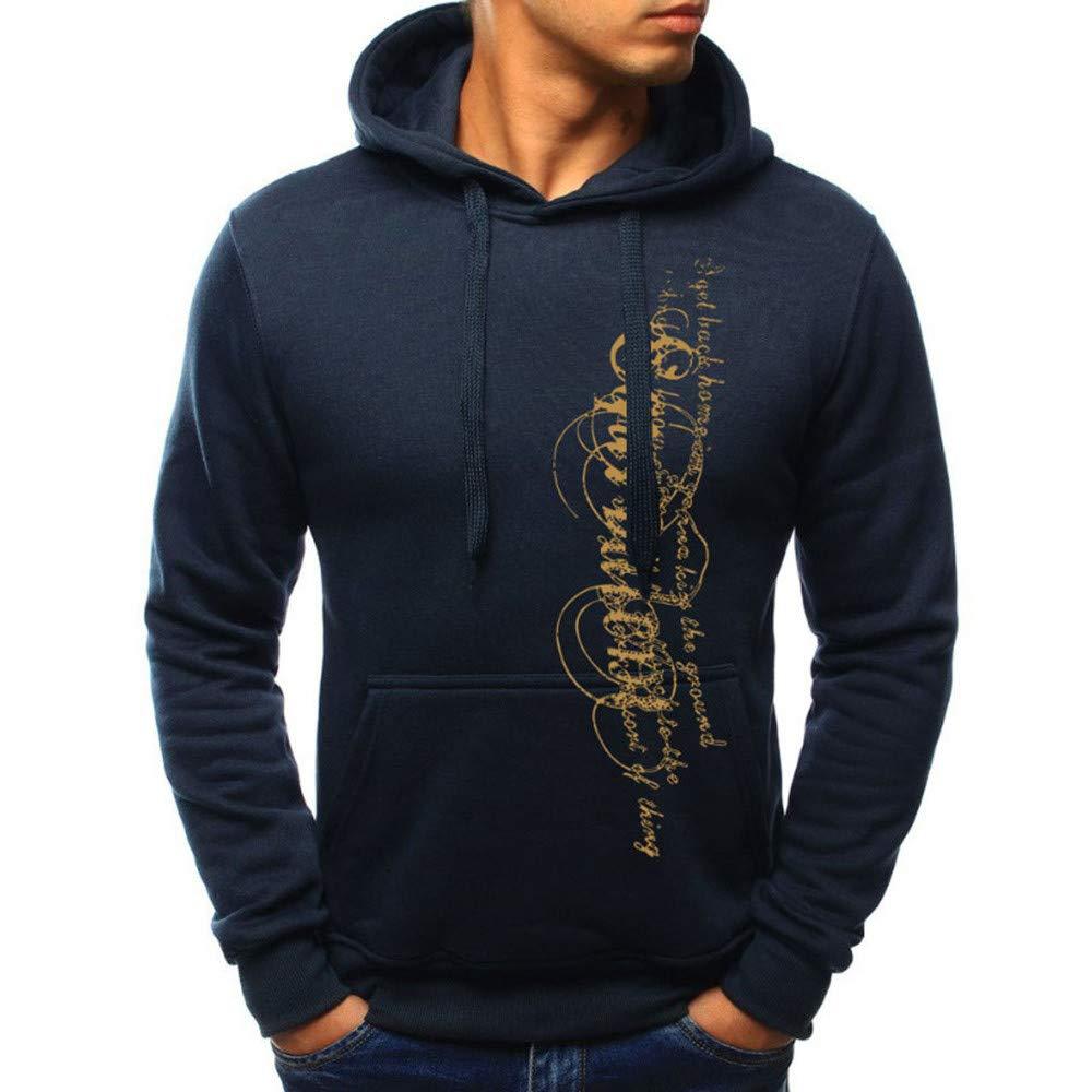 OSYARD Herren Druck Kapuzenpullover Pullover mit Kapuze, Herbst Winter Casual Spleißen Druck Caps Langarm Hoodie Top Bluse Sweatshirt Kapuzen Outwear