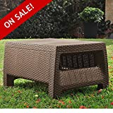 Plastic Wicker Coffee Table Clearance All Weather Resin Deck Dark Brown Modern Natural Rattan Furniture Contemporary Poolside Bistro Garden Outside Backyard Dining Living Room And eBook By NAKSHOP