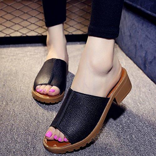 Transpirable la Moda arrastre Sandalias Los Patín 3cm Un Toda zapatos negro Cómodo Un correspondencia 36 37 elegante zapatillas Ajunr La vEAdwvq