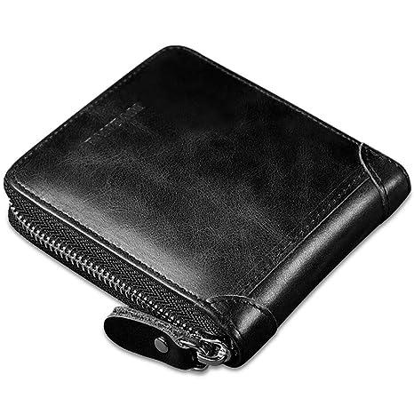 5f78efffe84f5 Faneam Leder Geldbörse Herren RFID Schutz Geldbeutel Männer Klein mit  Reißverschluss und 8 Kartenfächer