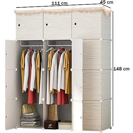 SunbuyHouse - Armario portátil con diseño de madera para colgar ropa, armario, armario modular
