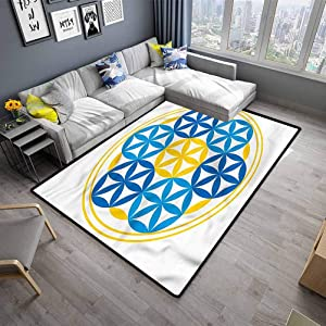 "Living Room Floor Carpets Sacred Geometry Carpet for Bedroom Geometric Symbol (5'7""x6'6"")"