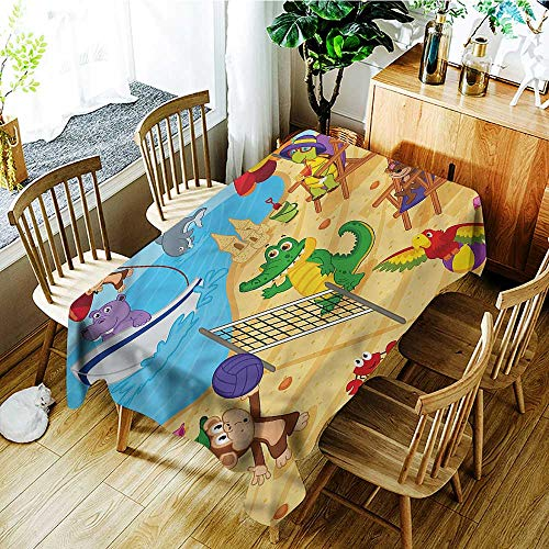 Angoueleven Kids,Party Table Cover Cartoon Animals on Beach 70
