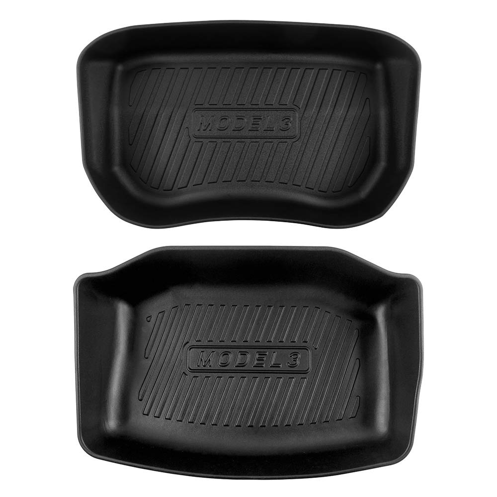 Model 3 Front and Rear Trunk Organizer All Weather Trunk Liner Durable TPO Cargo Storage Mat for Tesla Model 3,2 Pack