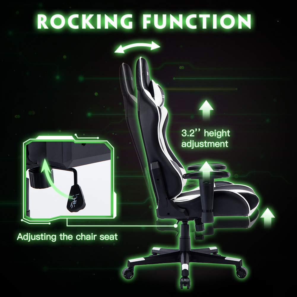 Amazon.com: Musso Gaming Chair Adjustable Esports Desk Chair, Premium PU Leather High-Back Large Size Executive Office Chair (Black&White): Kitchen & Dining