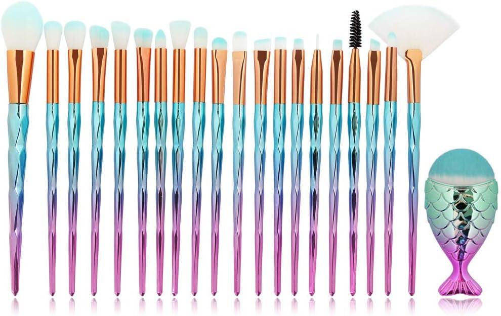Edary brochas de maquillaje profesional con mango de diamante 21 piezas brochas de maquillaje de sirena brochas de maquillaje colorete base de sombra de ojos herramientas de belleza