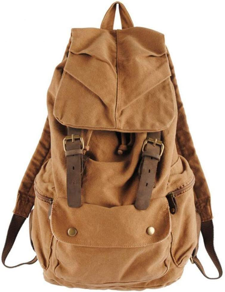DABUOT Europe and The United States Retro Wash Old Thick Canvas with Leather Bag Japan and South Korea Literary Men and Women Travel Backpack,Khaki