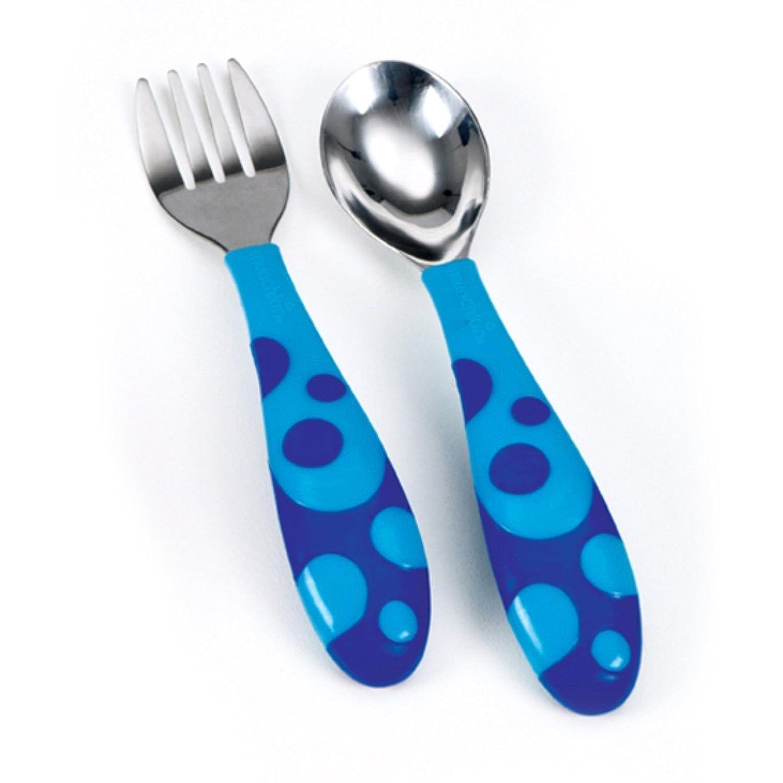 Munchkin Toddler Fork & Spoon Set Age 12 Months BPA Free (Blue)