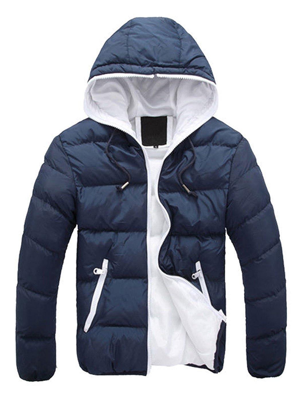 AK Men Women Winter Casual Hooded Light Padded Jacket Zipper Slim Outwear Coat Anna-Kaci ZJ0640PFBA