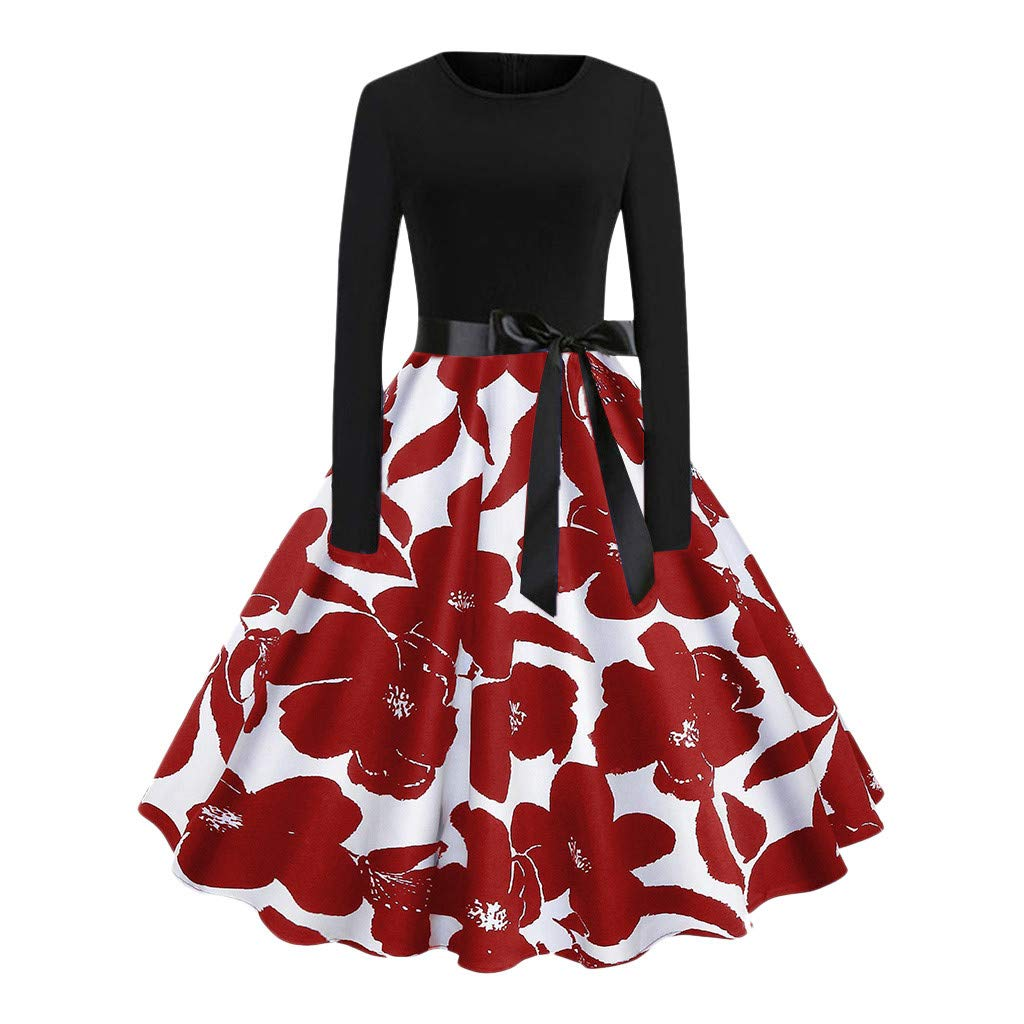 Women Hight Neck Party Dress, Lady Long Sleeve Temperament Skirt,Print Vintage Flare Dress Fashion Cocktail Evening Dress