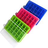 Silicone Ice Cube Trays 3 Pack, 24 Cubes per Tray, with Spill-Resistant Removable Lid,BPA Free