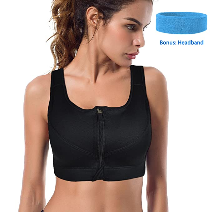 93eb502ff271e Shinymod Sports Bras Front Zipper Compression Bra High Impact Fitness  Sports Bra Wirefree Workout Hot Yoga