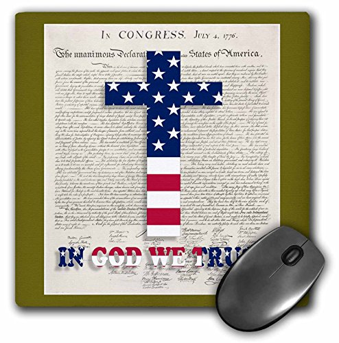 3dRose LLC 8 X 8 X 0.25 Inches Declaration of Independence Background with Christian Cross in USA Colors Mouse Pad (mp_22367_1)