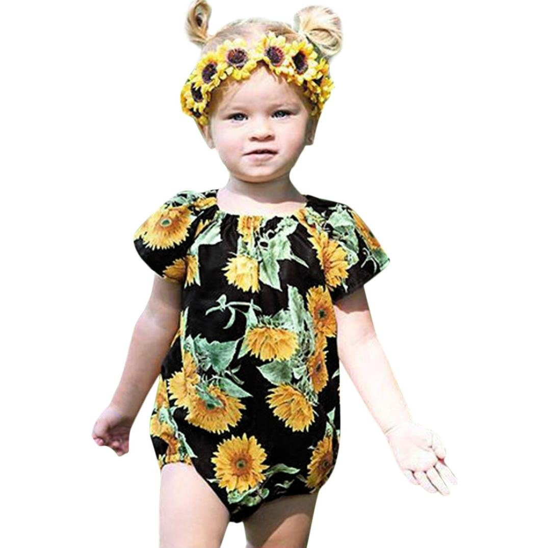 kaiCran Infant Baby Girls Short Sleeve Summer Bodysuit Floral Print Sweet Romper Jumpsuit Clothes