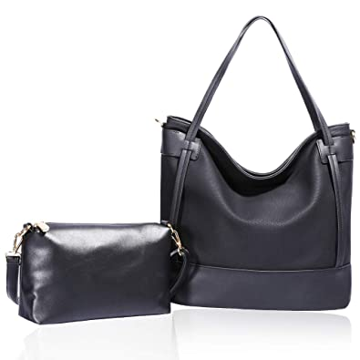 007cf4b517ff Amazon.com  ZOCAI Shoulder Bags PU Leather Large Hobo Handbag with Small  Crossbody Bag for Women 2 Pieces Set Black  Shoes