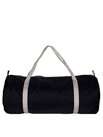 aad5547b1f40 American Apparel Men Nylon Pack Cloth Gym Bag One Size Black   Silver   Amazon.in  Clothing   Accessories