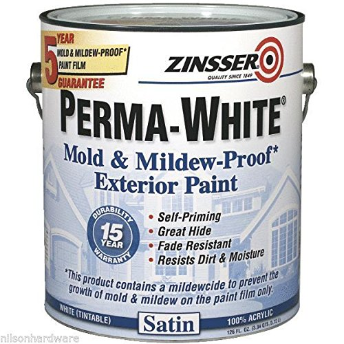 4 Gal Zinsser Perma-White Tintable Satin Mildew-Proof Exterior Wood Paint 3101