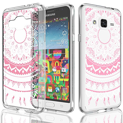 Galaxy Sky Case for Girls, Galaxy J3 / J3 V/Sol/Amp Prime Case, Tekcoo [TFlower] Transparent Ultra Thin Clear Hard TPU Skin Scratch-Proof Bumper Cases for Samsung Galaxy Express Prime -Pink