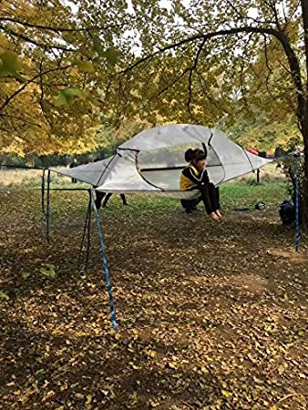 Skysurf Triangle Hanging Tree Tent Lightweight Backpacking 2 Person Tree Tent Triangle Double Hammock (Grey : tree tent hammock - memphite.com