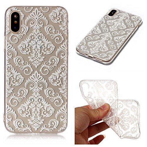 Hülle iPhone X , LH Weiße Spitzenblumen TPU Weich Muschel Tasche Schutzhülle Silikon Handyhülle Schale Cover Case Gehäuse für Apple iPhone X