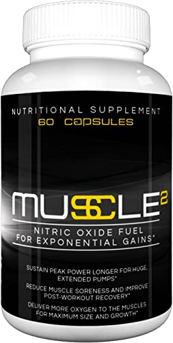 Muscle Squared – Premium Nitric Oxide Booster with L-Arginine for Exponential Muscle Gain with Better Workouts and Explosive Results
