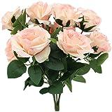 Topix Premium artificial flower Romantic Rose 10 Big Heads Bounquet (Pink)