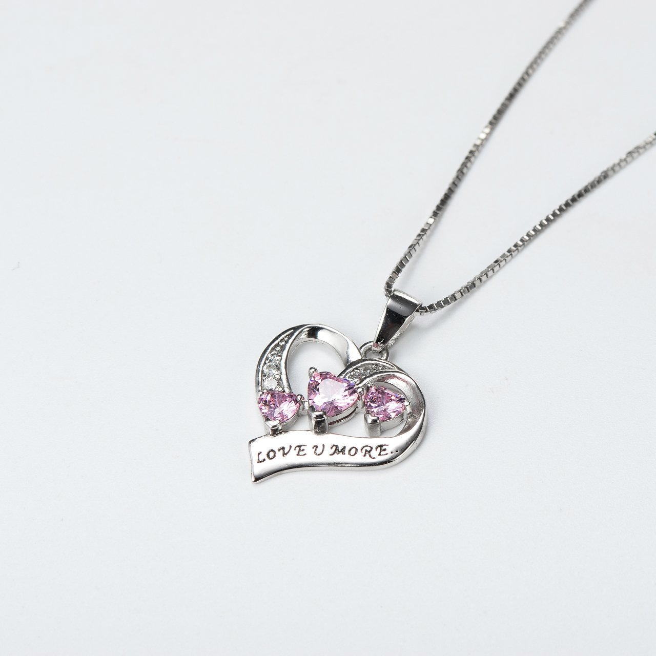 YFN Engraved Love You More Sterling Silver Pink Jewelry Crystal Eternity Heart Necklace (Pink Heart) by YFN (Image #3)