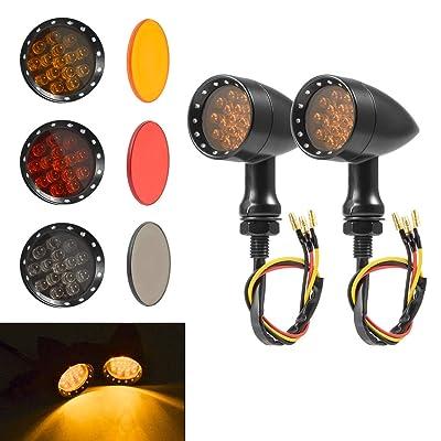 PBYMT Bullet Turn Signal Light Amber Lamp Compatible for Chopper Bobber Cruiser Honda Suzuki Kawasaki Yamaha Harley Davidson BMW KTM and More (Black Housing): Automotive [5Bkhe2012476]