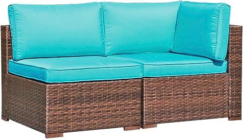 OC Orange-Casual 2 Piece Patio Sectional Furniture Set Outdoor Armchair Middle Sofa